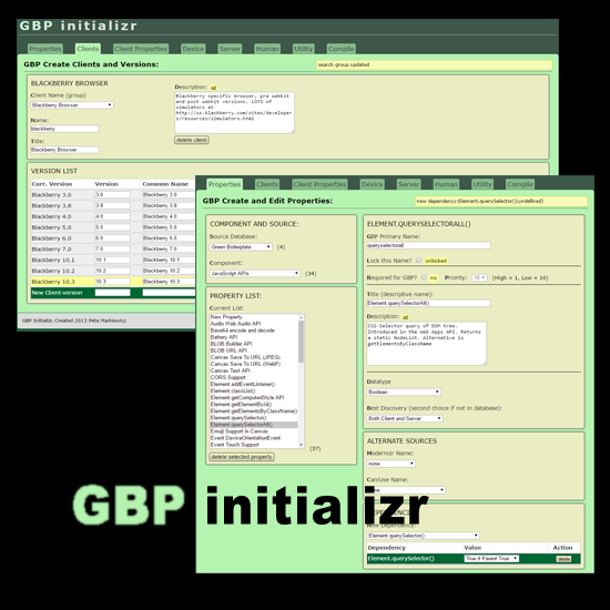 database editor for green boilerplate, a sustainable web design framework by pete markiewicz