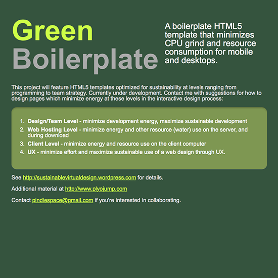 green boilerplate initializr, a sustainable web design framework by pete markiewicz