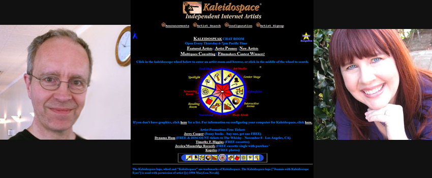 Jeannie Novak, Pete Markiewicz, and Kaleidospace home page 1996