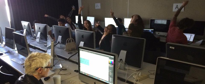 scenes from teaching students in web and interactive design